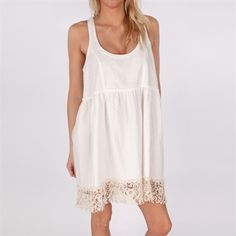Free People Womens Contemporary Solid Joes Linen Babydoll Dress #VonMaur #FreePeople #Ivory #Crochet #Lace