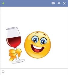 Facebook emoticon holding glass of red wine