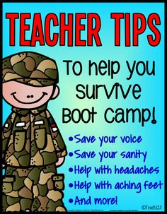 BACK TO SCHOOL TIPS:  Most teachers will usually spend the first week going over rules, procedures, and do get-to-know activities.  Some of you may refer to this time period as Boot Camp. Today's post has tips for saving your voice, help with stress, and other tips.