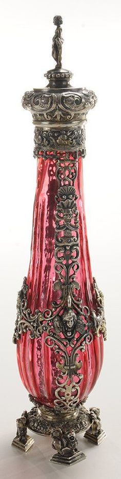 Extremely Rare Gold Ruby Glass Mannerist Perfume Bottle