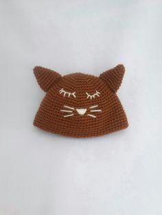 6e1f8fb2b75e Bonnet bébé tête de chat - taille 0 3 mois - Cadeau naissance original