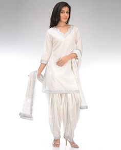 Pearl White Patiala Suit with Gota Work