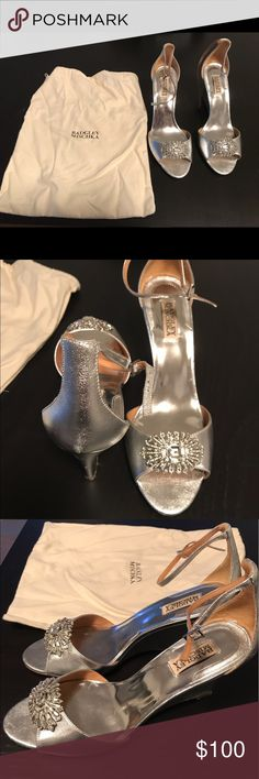Badgley Mischka silver Wedges- Women's Size 10 These gorgeous shoes were only worn once for a few hours for photos.  Badgley Mischka Silver Harmony II. Size 10. Includes box and duster bag.  These shoes are from the famous Kleinfelds in New York City. Badgley Mischka Shoes Wedges