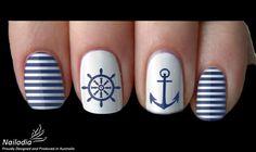 Anchor Sailor Navy Nail Art Sticker Water Transfer Decal 05 Source by Nautical Nail Designs, Nail Art Designs, Nautical Nail Art, Anchor Nail Designs, Nails Design, Design Art, Beachy Nail Designs, Navy Nail Art, Navy Nails