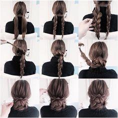 「hairstyle! 簡単三つ編みシニヨン☆ 是非お試しください☆ #gスタイル#ファッション#コーデ #ヘアスタイル#ヘアアレンジ#hair #fashion#fashionista#beauty#instagood」