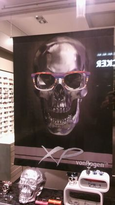 d4f4629c079 Skulls used in a window display to sell frames for eyeglasses