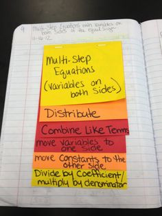 Teaching in Special Education: Solving Linear Equations; this can be changed to help students understand other multi- step problems Interactive Student Notebooks, Math Notebooks, Nutrition Education, Math Education, Waldorf Education, Physical Education, Solving Linear Equations, Balancing Equations, 7th Grade Math
