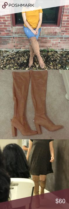 Knee-High Boots with heels Beige/Tan knee high boots with heels. Super cute and trendy! Only worn twice. Size 9 US women's. Shoes Over the Knee Boots