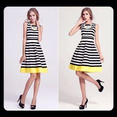 "⚫️ Causal Stripe Summer Dress NEW WITHOUT TAGS. Black and White with a bold Yellow stripe at the hem of the dress. Polyester blend. NOT TRUE TO SIZE.  MEASUREMENTS: BUST- 39.5""  WAIST- 32.3"". HIPS- 44.9"" LENGTH- 39.6"". Boutique Dresses"