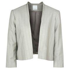 ANAGRAM $475 open-front beige cotton linen striped blazer cropped jacket 8 NEW #Anagram #Blazer