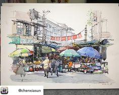 Repost from @chenxiasun - #sketch #sketchbook #sketching #drawing#urbansketch #urbansketchers
