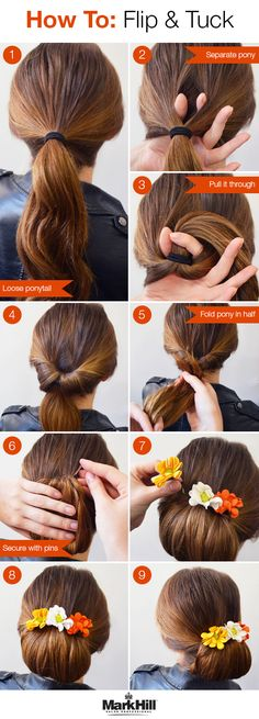 fun updo that's simple but looks gorgeous — especially with bright flower accents.A fun updo that's simple but looks gorgeous — especially with bright flower accents. Trendy Hairstyles, Bun Hairstyles, Easy Hairstyle, Up Dos For Medium Hair, Tips Belleza, Hair Today, Hair Looks, Hair Trends, Hair Inspiration