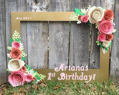 Gold Floral Frame Photo booth prop with 3D flowers  perfect