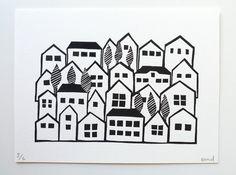 Neighborhood - a hand pulled linocut print by Erin Dollar