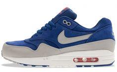 Nike Air Max 1 Premium Deep Royal Blue Granite-Silver-Team Orange 512033 ebc914231a56
