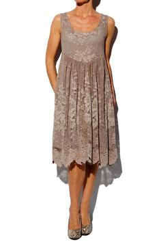 Not for maids… but for mother of the bride. Myrine & Me Taupe Lace Jena Dress … Mother Of Groom Dresses, Mothers Dresses, Mother Of The Bride, Mob Dresses, Short Dresses, Bridesmaid Dresses, Bride Dresses, Bridesmaids, I Dress