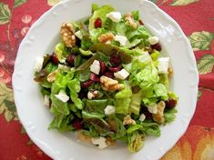 Cranberry, Feta & Walnut Salad: feta, dried cranberries, salad greens, balsamic vinegar, honey, Dijon mustard, olive oil & pepper