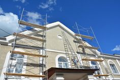 Painting and Plastering Exterior House Scaffolding Wall. Home Facade Insulation, Sctucco and Painting Works During Exterior Wall Renovations and Repair. Old Greeting Cards, Painting Words, Scaffolding, Facade House, Avatar, Plastering, Construction, Exterior, Cabin