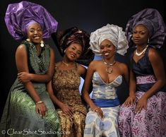 West African women in ankara dress complete with headress