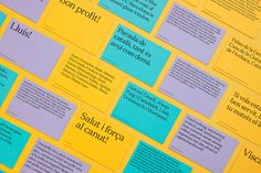 Postcards with coloured paper and original copy detail by Forma & Co for Barcelona tourist business Urbanna