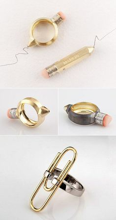 Wearable Stationary - miniature paperclip & pencil rings; quirky contemporary jewellery design // Vladimir Markin