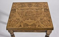 Custom Made Wood Burned End Table With Old Tattoo Flash - THIS IS AMAZING!