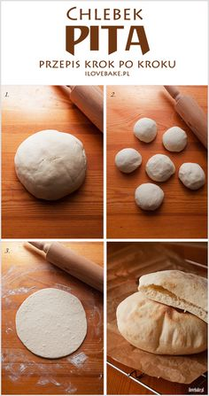 Pita bread - recipe step by step Bread Recipes, Cooking Recipes, Good Food, Yummy Food, Pita Bread, Polish Recipes, Arabic Food, Diy Food, Street Food
