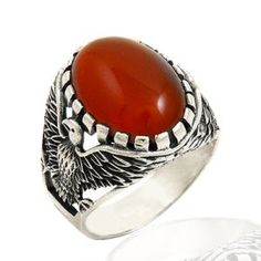 Turkish handmade sterling silver ring with eagle and agate gemstone Metal: sterling silver Weight: Agate Gemstone, Gemstone Rings, Sterling Silver Rings, Decorative Bowls, Eagle, Gemstones, Metal, Handmade, Hand Made