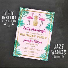 Let's Flamingle Printable Birthday Invitation Template | Flamingo Birthday Invitation | Flamingo | Flamingos | Pineapple | Palms | Invites
