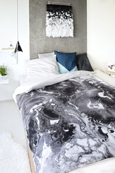 BEDDING SETS Scandinavian bedding set, duvet cover,  - 100% cotton sateen with black and white abstract painting, digital printing of my original acrylic painting,  BUY (worldwide shipping): https://www.etsy.com/listing/482073296/complete-bed-set-flow-100-cotton-sateen?ref=shop_home_active_1