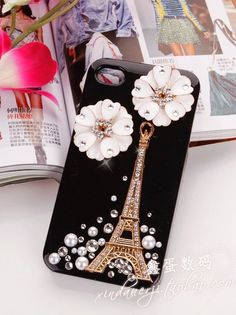 Modern Eiffel Tower and Flowers Protective Case with Diamonds For IPhone 4/4S  - VeryShop.com