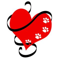 Silhouette Design Store: paw heart with ribbon