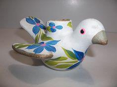 "Vintage Mexican Folk Art Pottery CANDELABRA Candle Holder DOVE Bird 5"""