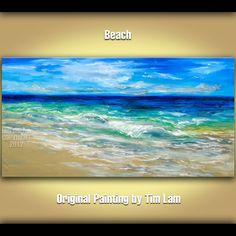 Beach Wave, Contemporary acrylic painting seascape dawn Natural Organic Art 48x24x1.6. $299.00, via Etsy.