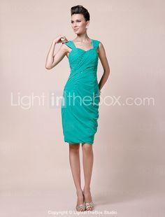 Sheath/ Column Sweetheart Straps Knee-length Chiffon Mother of the Bride Dress - USD $ 128.69