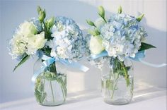 Floral Wedding Centerpieces Planning and Tips - Love It All Blue Hydrangea Centerpieces, Blue Flower Arrangements, Blue Wedding Centerpieces, Centerpiece Ideas, Babyshower Centerpieces For Boys, Christening Table Decorations, Mason Jar Hydrangea, Communion Centerpieces, Elephant Centerpieces