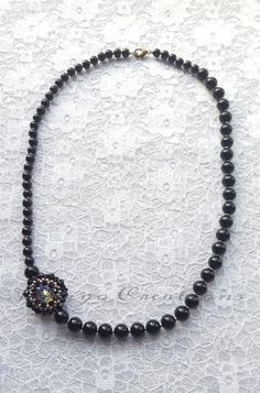 Necklace Handmade Swarovski Crystal And Black Glass Pearl Necklace £8.50
