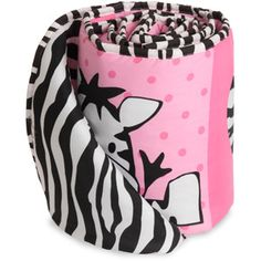 Baby Boom I Luv Zebra Crib Bumper, Pink