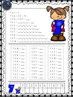 Hojas para repasar las tablas de multiplicar - Imagenes Educativas Teaching Multiplication, Teaching Math, School Items, School Days, Math Exercises, School Frame, Kids Math Worksheets, Simple Math, Skills To Learn