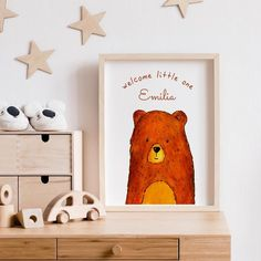 With its warm colours and beautiful bear illustration this nursery art print adds cosiness and a personal touch to nursery walls. A name can be added to make a unique birth or babyshower gift. The illustration is taken from a handdrawn watercolor painting and printed on heavy structured fine art paper.