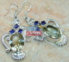 Beautiful item with Green Amethyst, Iolite Faceted Gemstone(s) set in pure 925 sterling silver.