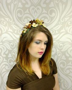 Flower Crown, Bohemian Headband, Ivory and Brown Flower Headpiece, Rustic Wedding, Bridal Headpiece, Flower Headband, Wedding Headpiece by RuthNoreDesigns on Etsy