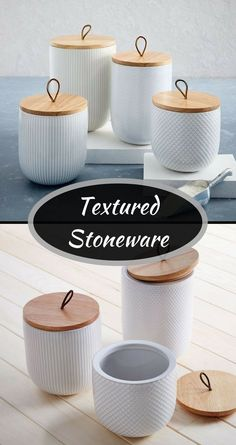 Textured stoneware canisters, love the texture and wood elements of these #canisters #kitchendecor #kitchen #kitchenstorage #affiliate