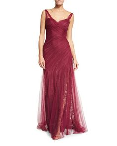 Pleated+Lace+Tulle+Gown+by+Monique+Lhuillier+at+Bergdorf+Goodman.