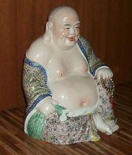 """Large 13"""" Chinese Republic Famille Rose Porcelain Buddha Signed"""