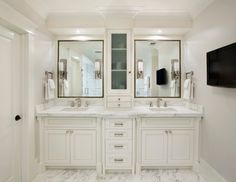 Interesting Bathroom Vanity Cabinets For Bathroom Furniture Ideas :  Mediterranean Bathroom With Crown Molding And Marble