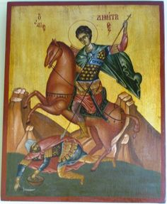 Agiography,Saint Dimitrios by Konstantinos Kountouris  Style:tempera with leaves of gold  Size:50x40