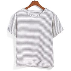 Romwe Black White Short Sleeve Striped T-Shirt ($7.90) ❤ liked on Polyvore featuring tops, t-shirts, black and white, black and white t shirt, black white stripe tee, stripe t shirt, short sleeve tees and round neck t shirt