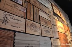Wall made from wooden wine boxes