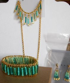 Safety Pin Necklace, Bracelet, and Earring set